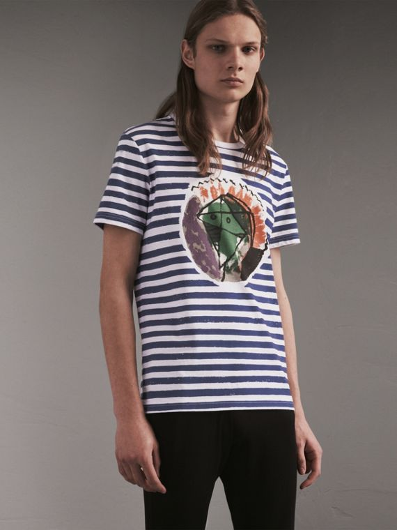 Pallas Heads Print Striped Cotton T-shirt in White