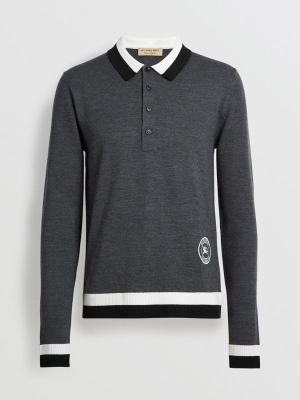 Stripe Detail Merino Wool Long-sleeve Polo Shirt in Dark Grey Melange - Men | Burberry - cell image 3