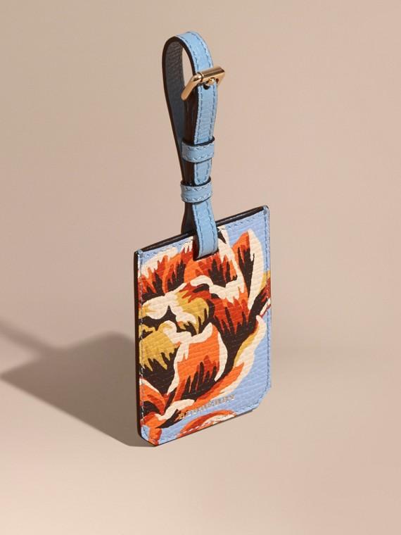Gepäckanhänger aus genarbtem Leder mit Pfingstrosenmotiv Hellblau/leuchtendes Orange
