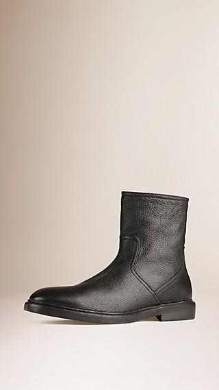 Shearling-Lined Deerskin Boots
