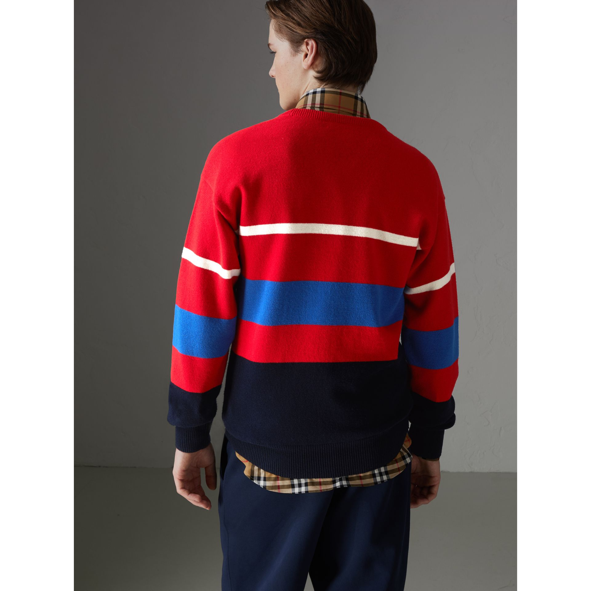 Reissued Lambswool Sweater in Red - Men | Burberry - gallery image 2
