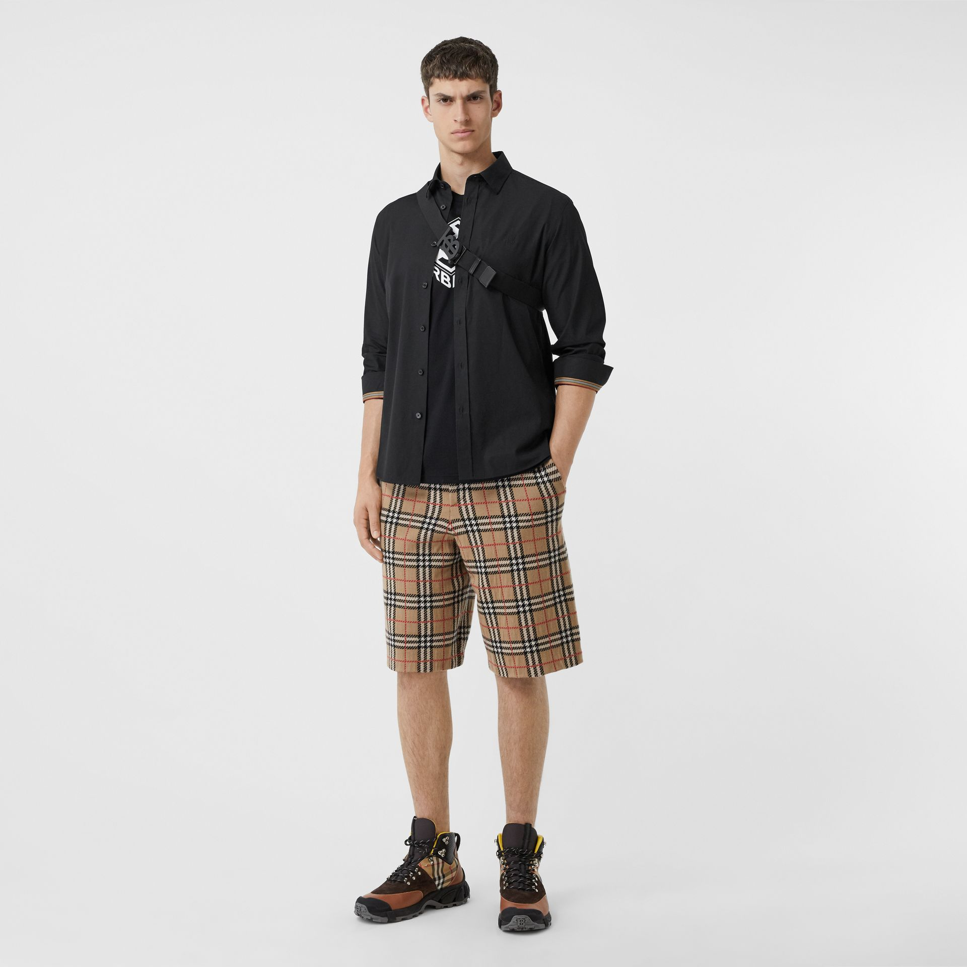 Monogram Motif Stretch Cotton Poplin Shirt in Black - Men | Burberry - gallery image 0