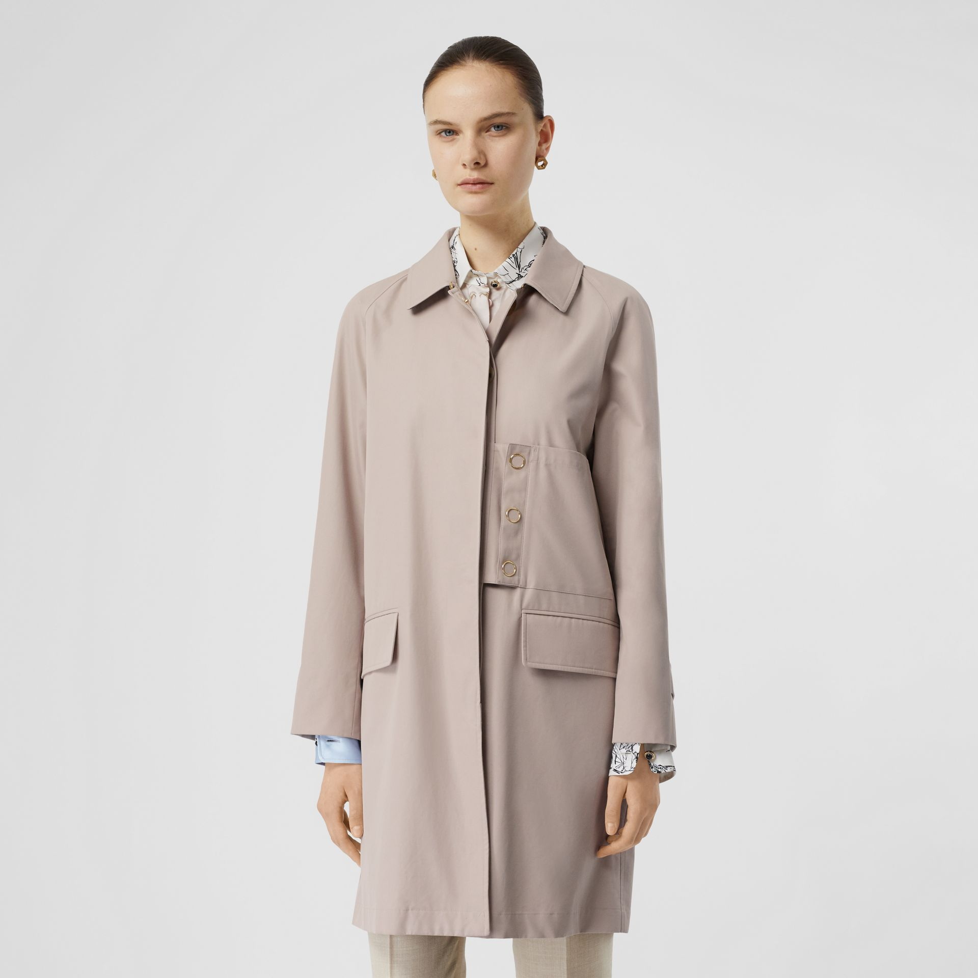 Cotton Gabardine Car Coat in Pale Blush - Women | Burberry - gallery image 6