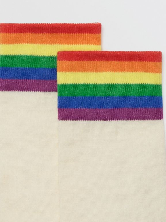Striped Detail Merino Wool Cotton Blend Socks in White/rainbow | Burberry - cell image 1