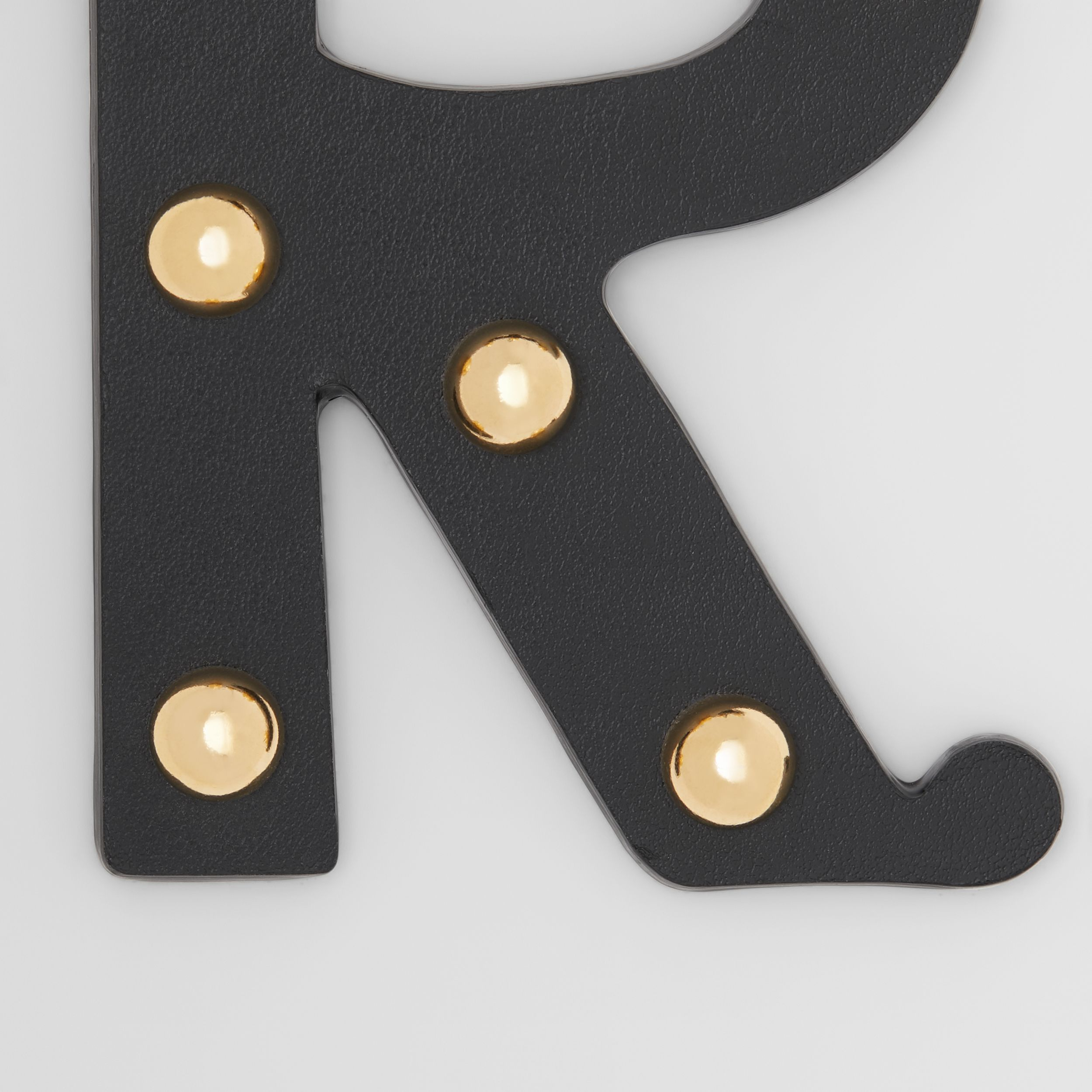 'R' Studded Leather Alphabet Charm in Black/light Gold | Burberry - 2
