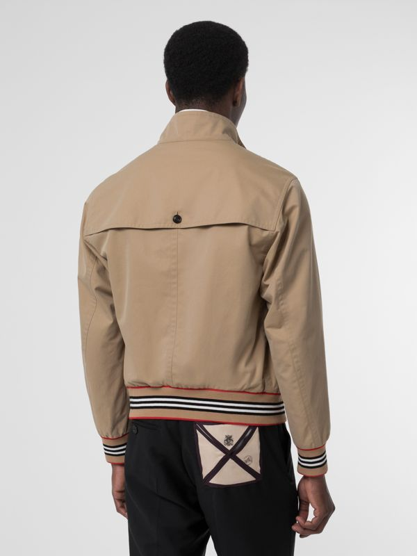 Icon Stripe Detail Cotton Gabardine Harrington Jacket in Honey - Men | Burberry - cell image 2