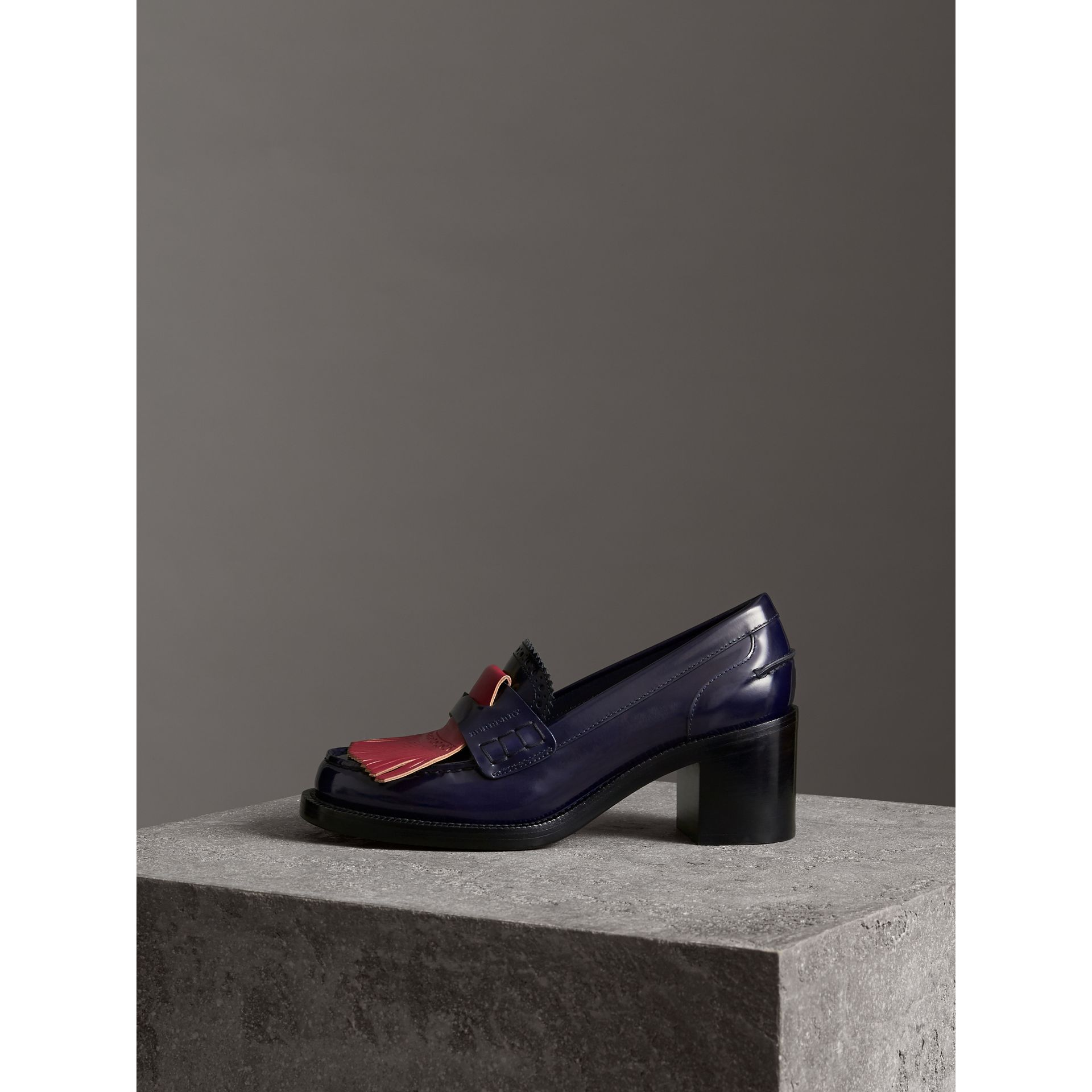 Contrast Kiltie Fringe Leather Block-heel Loafers in Navy - Women | Burberry - gallery image 3