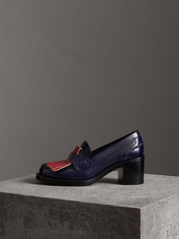 Contrast Kiltie Fringe Leather Block-heel Loafers in Navy - Women | Burberry Canada - cell image 3
