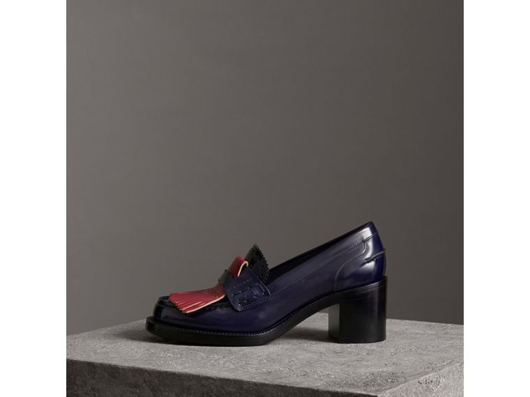 Contrast Kiltie Fringe Leather Block-heel Loafers in Navy - Women | Burberry - cell image 4