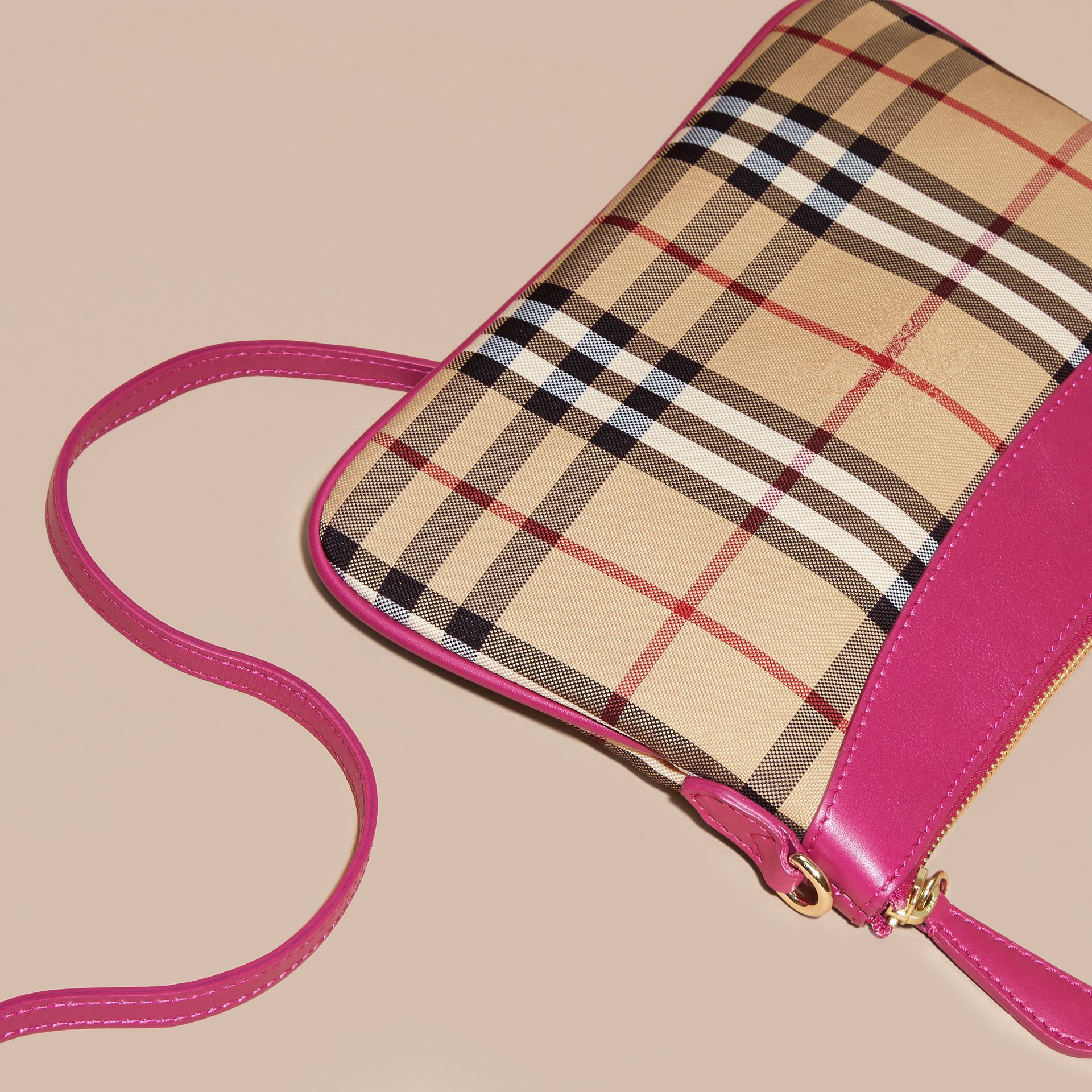 Horseferry Check and Leather Clutch Bag Brilliant Fuchsia - gallery image 5
