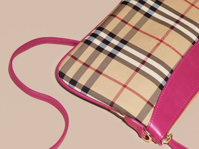 Brilliant fuchsia Horseferry Check and Leather Clutch Bag Brilliant Fuchsia - cell image 4
