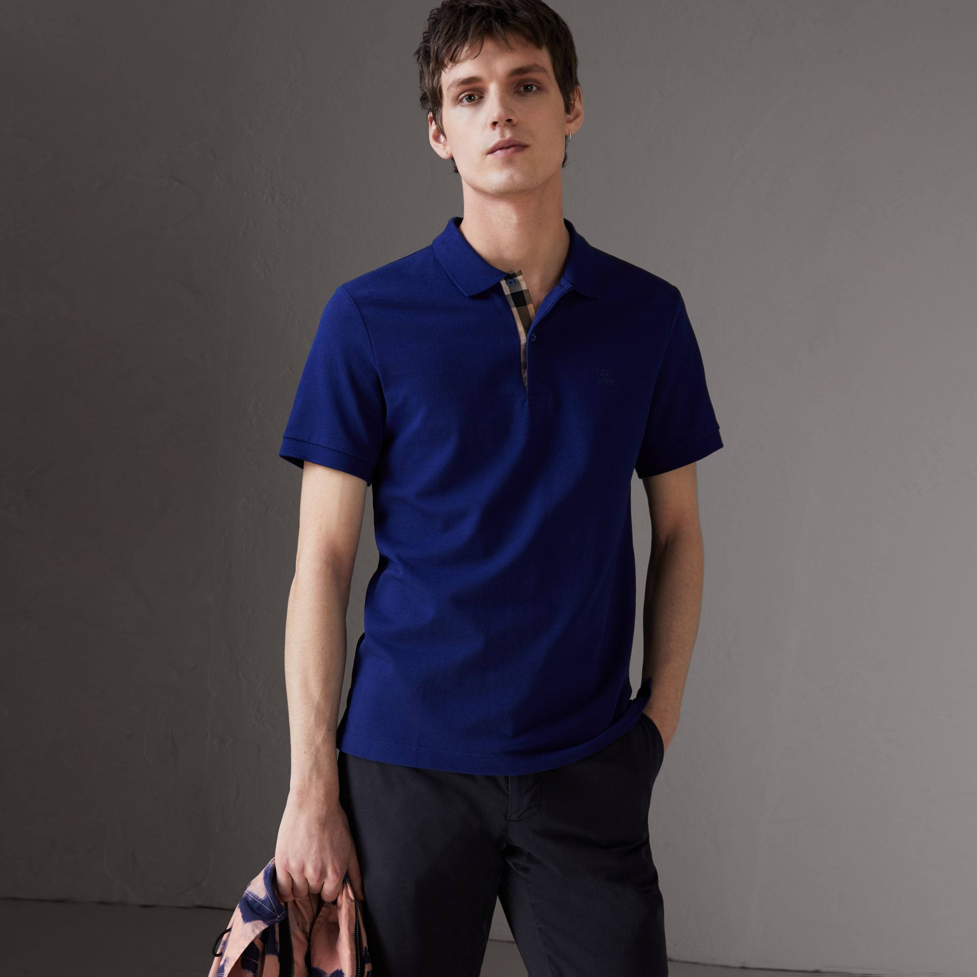 Check Placket Cotton Piqué Polo Shirt in Bright Blue - Men | Burberry - gallery image 0