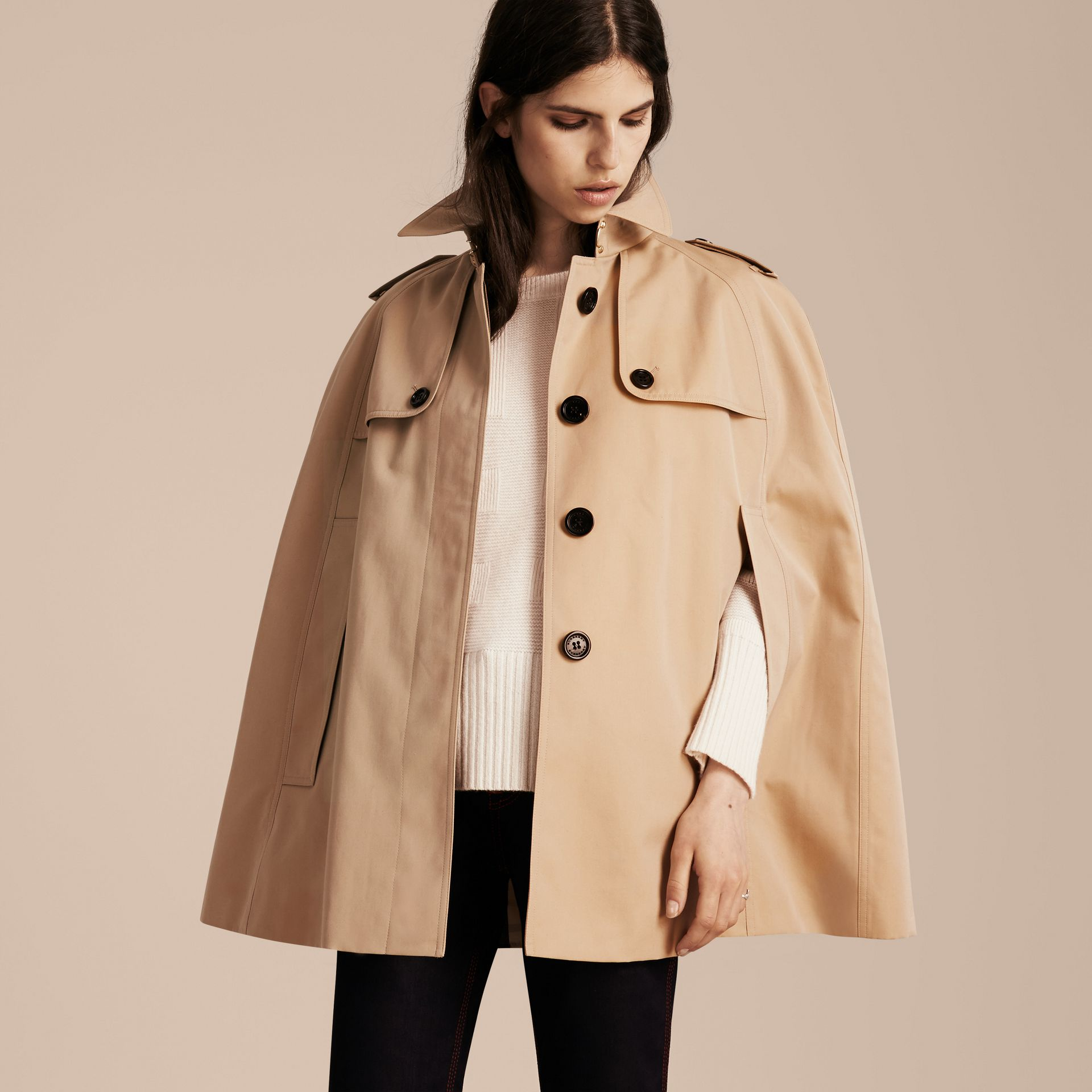 Honey Cotton Gabardine Trench Cape - gallery image 6