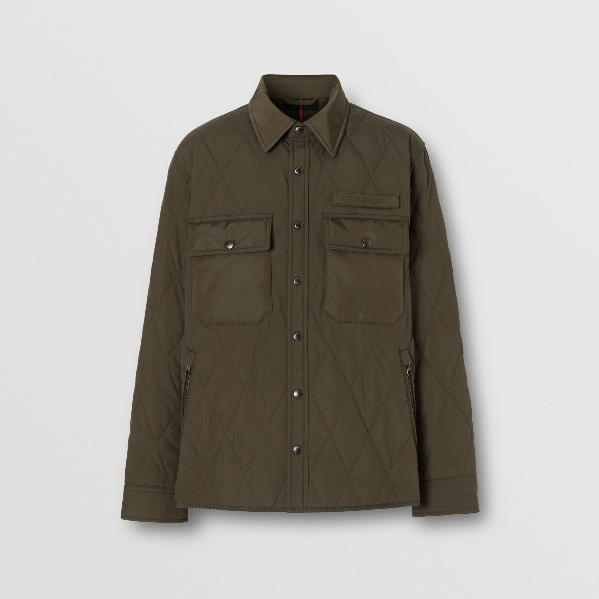 Quilted Nylon Thermoregulated Overshirt in Dark Olive Green - Men | Burberry United Kingdom - gallery image 3