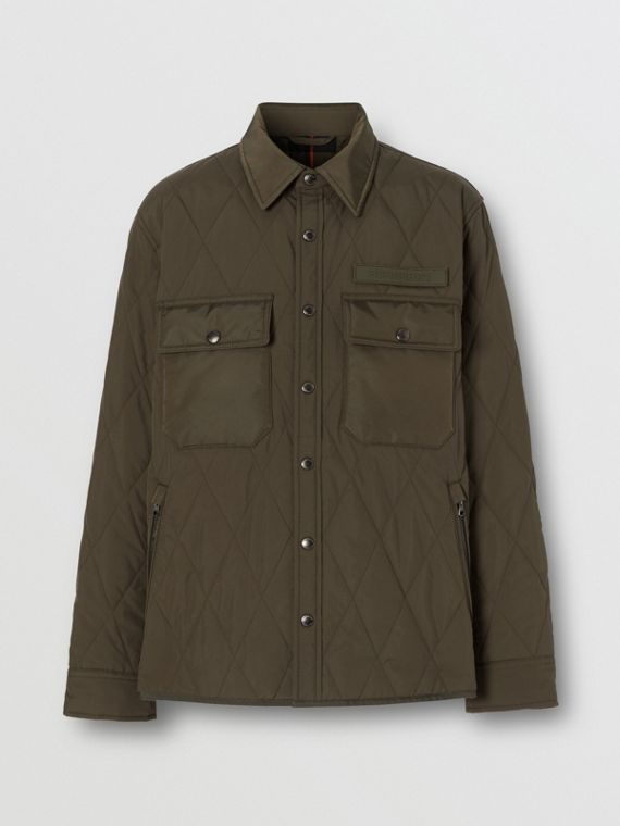 Quilted Nylon Thermoregulated Overshirt in Dark Olive Green