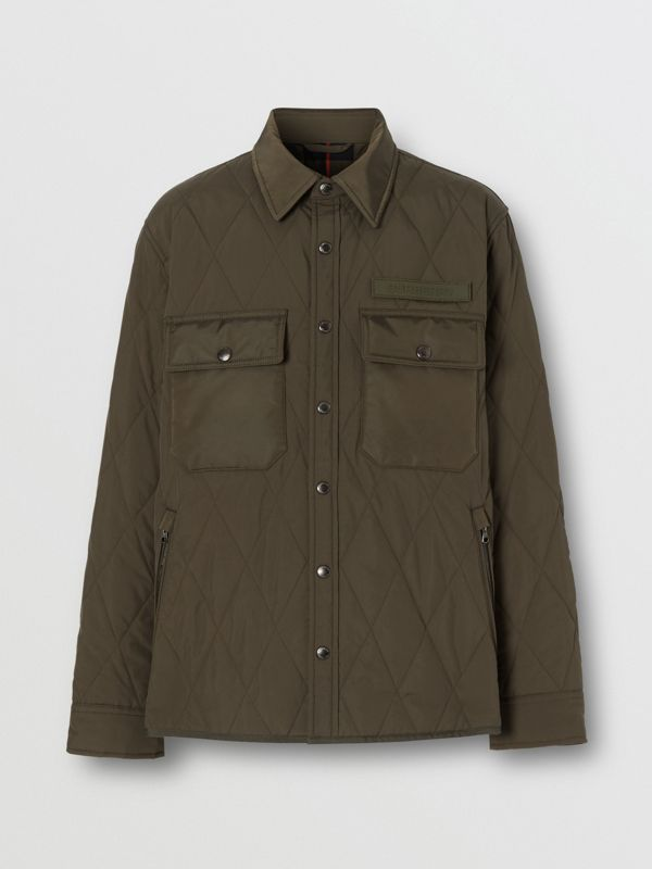 Quilted Nylon Thermoregulated Overshirt in Dark Olive Green - Men | Burberry - cell image 3