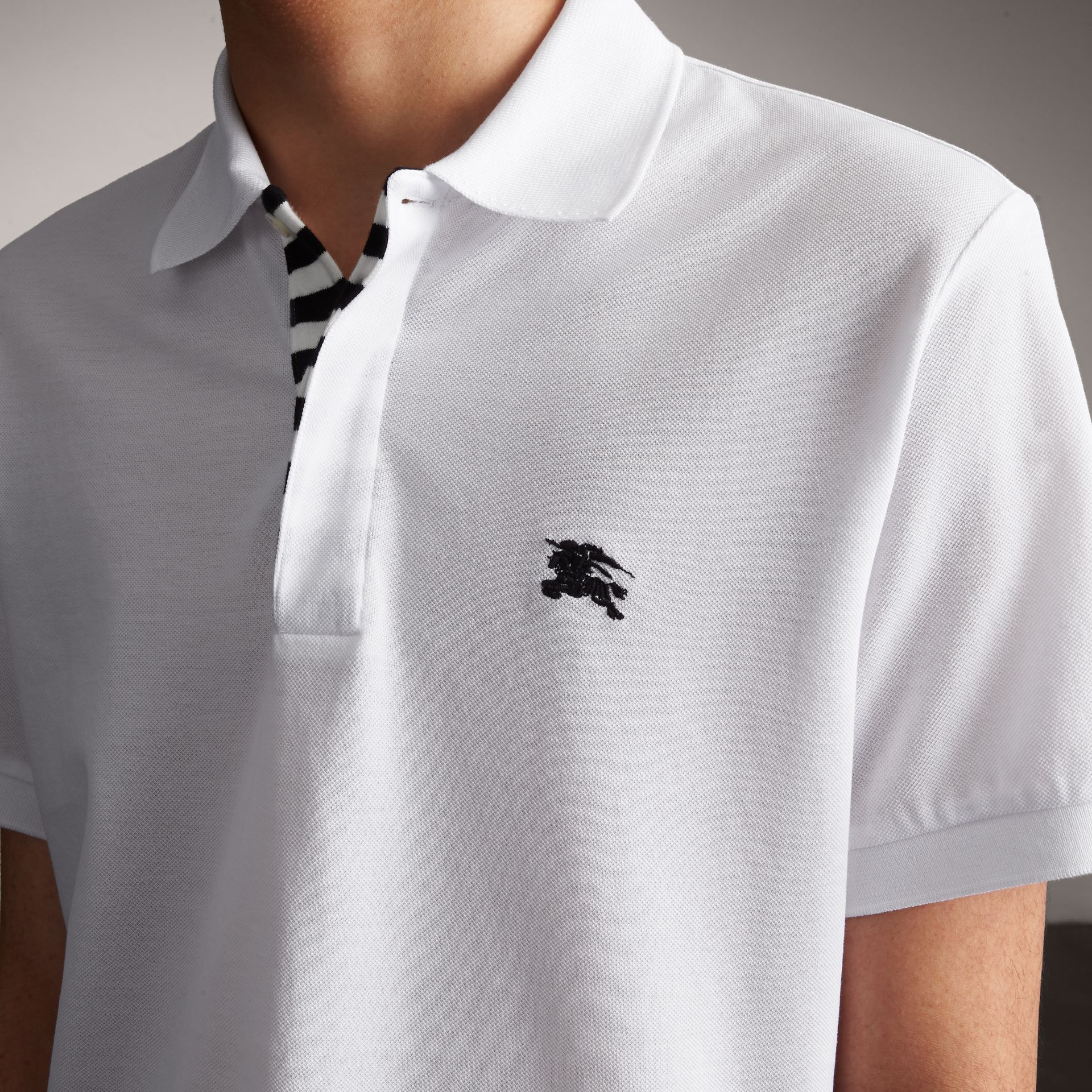 Striped Placket Cotton Piqué Polo Shirt in White - Men | Burberry - gallery image 5
