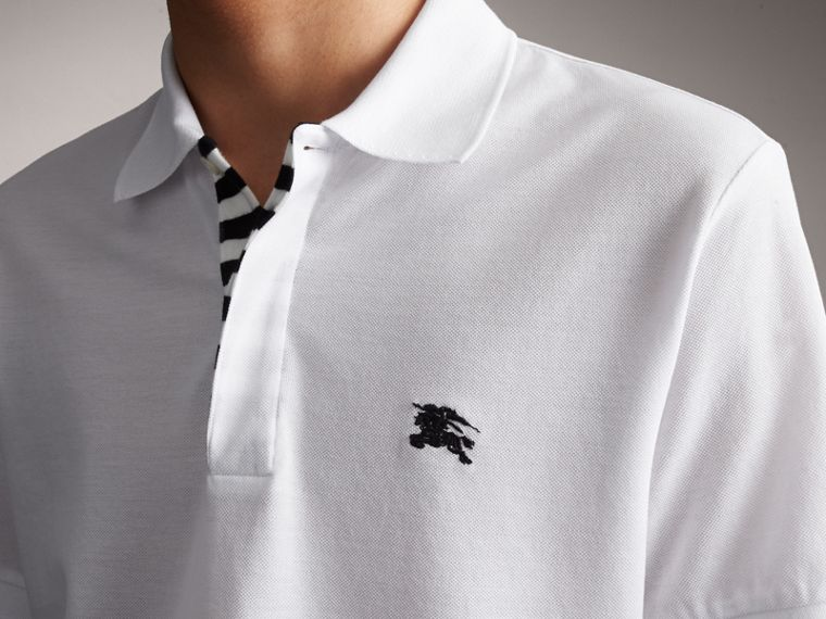 Striped Placket Cotton Piqué Polo Shirt in White - Men | Burberry - cell image 4