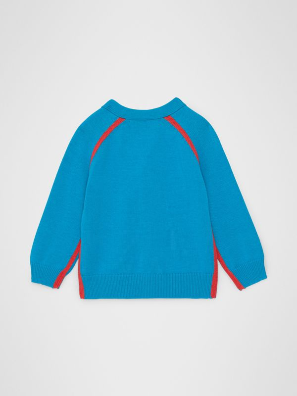 Two-tone Cotton Knit Cardigan in Regatta Blue - Children | Burberry - cell image 3