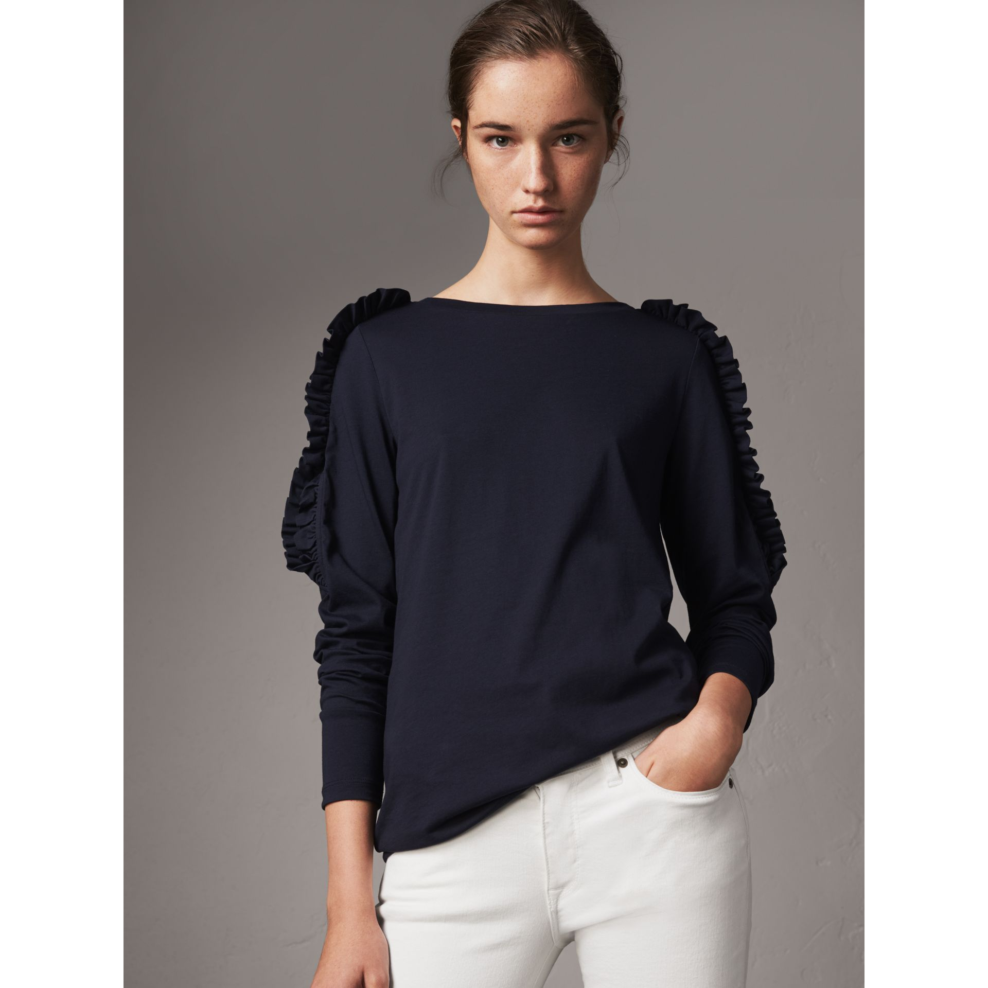 Ruffle Detail Cotton Top in True Navy - Women | Burberry - gallery image 0