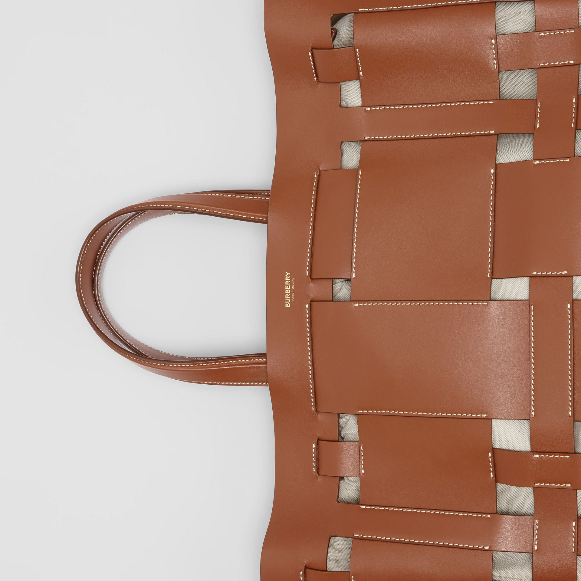 Large Leather Foster Tote in Malt Brown - Women | Burberry - gallery image 1