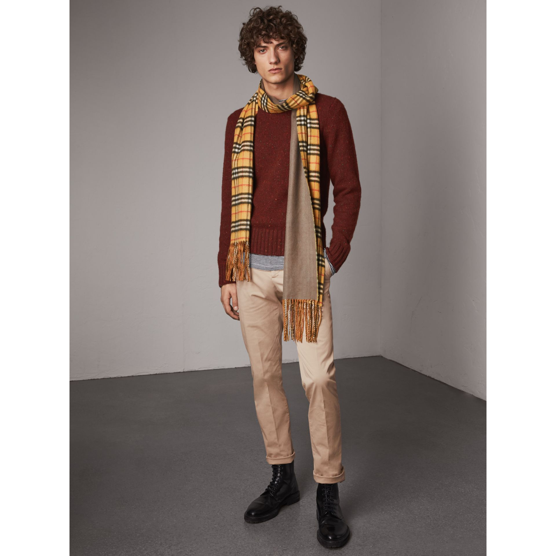 Slim Fit Stretch Cotton Chinos in Stone - Men | Burberry - gallery image 1