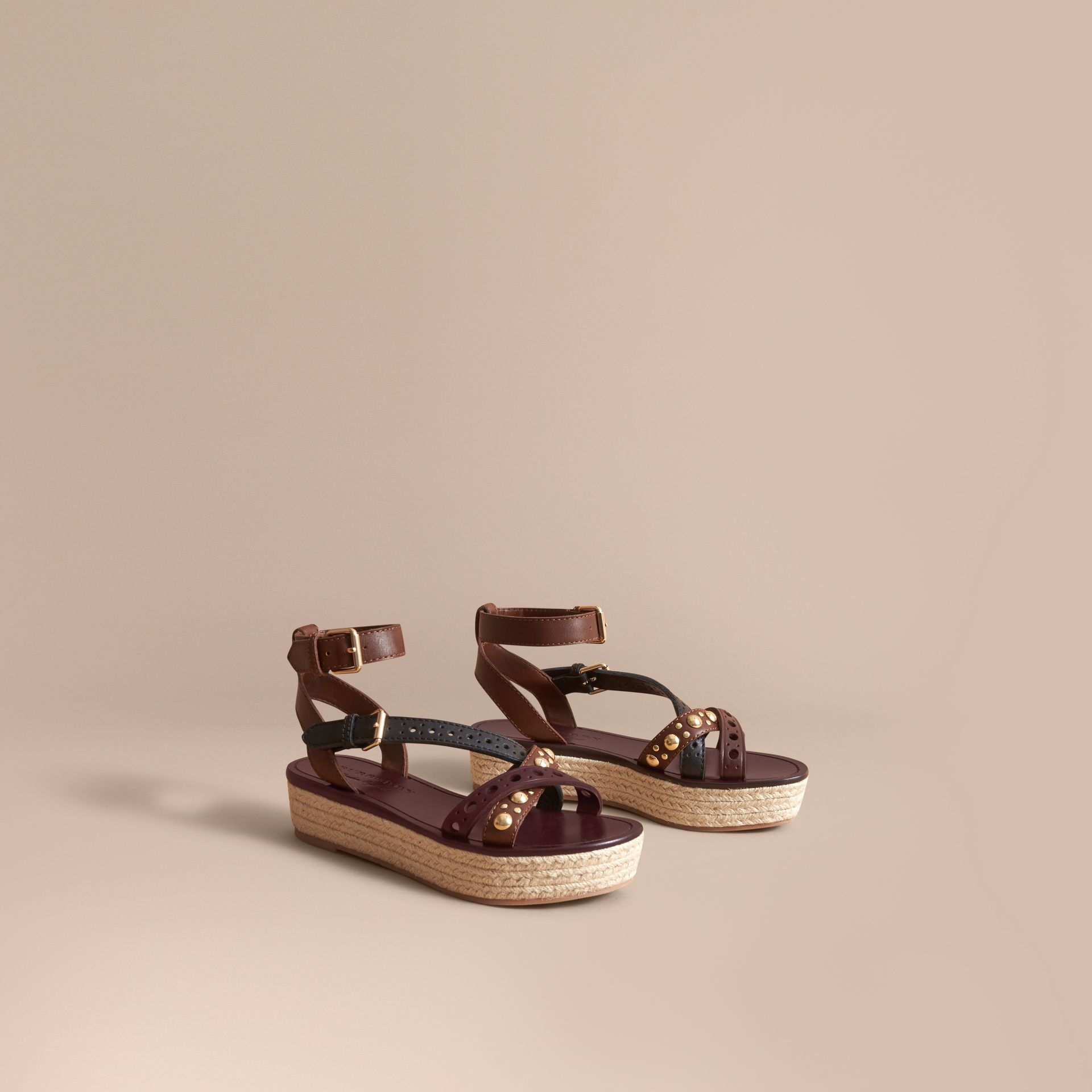 Two-tone Riveted Leather Espadrille Sandals - gallery image 1
