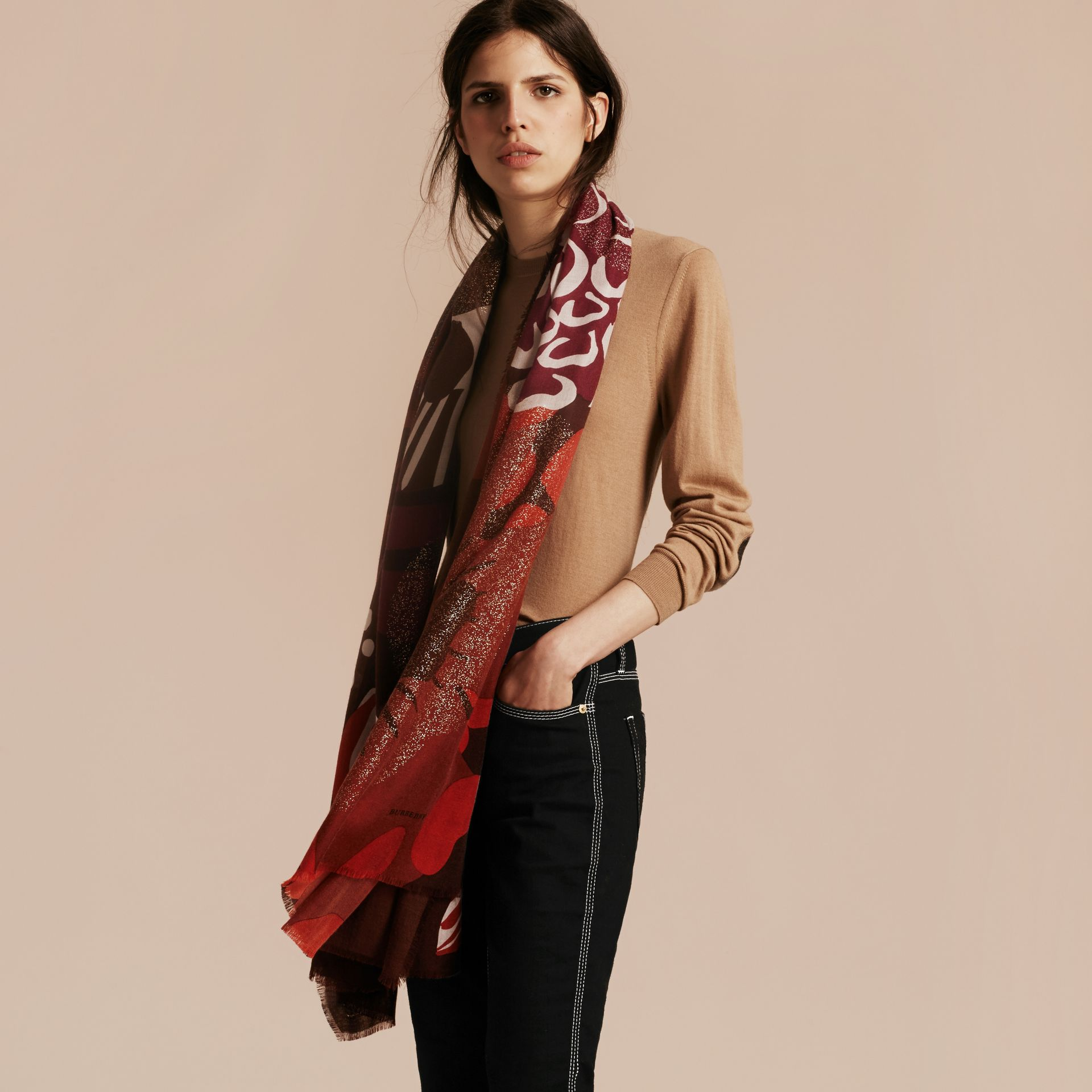 Deep burgundy Floral and Gold Foil Lightweight Cashmere Scarf Deep Burgundy - gallery image 3