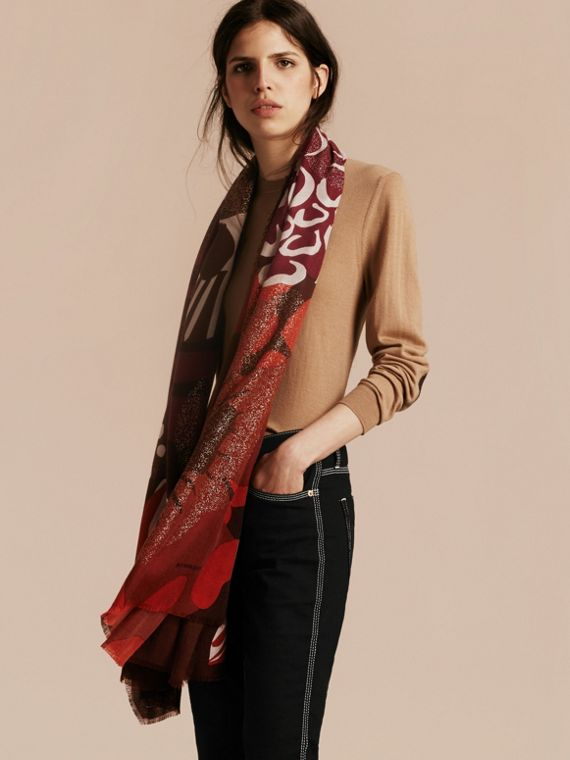 Deep burgundy Floral and Gold Foil Lightweight Cashmere Scarf Deep Burgundy - cell image 2