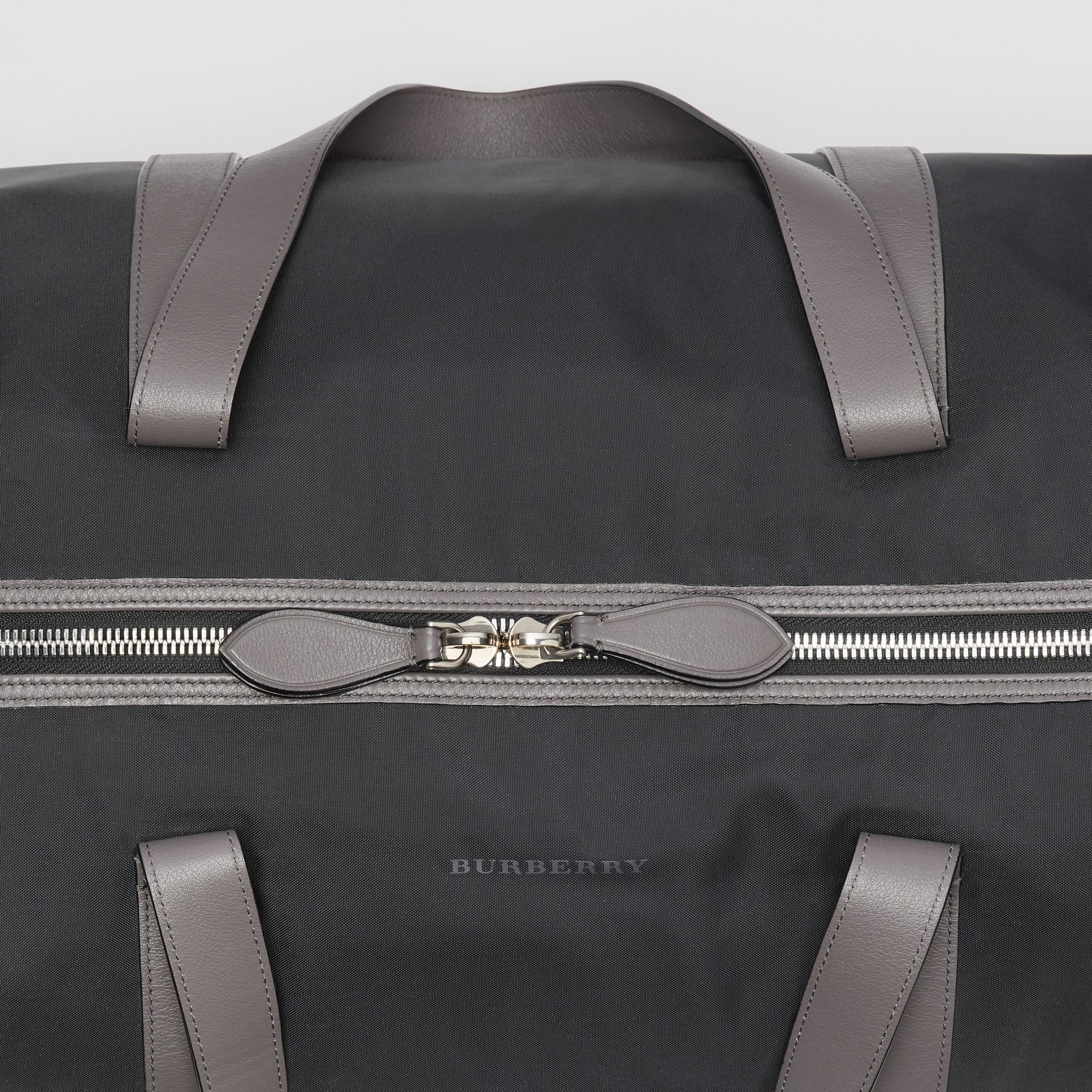 Large Nylon and Vintage Check Barrel Bag in Black - Men | Burberry Australia - gallery image 1