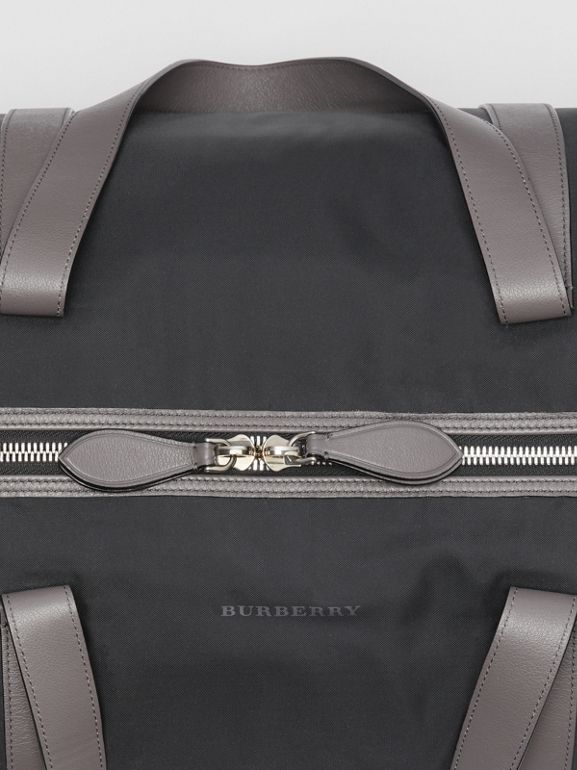 Large Nylon and Vintage Check Barrel Bag in Black - Men | Burberry - cell image 1