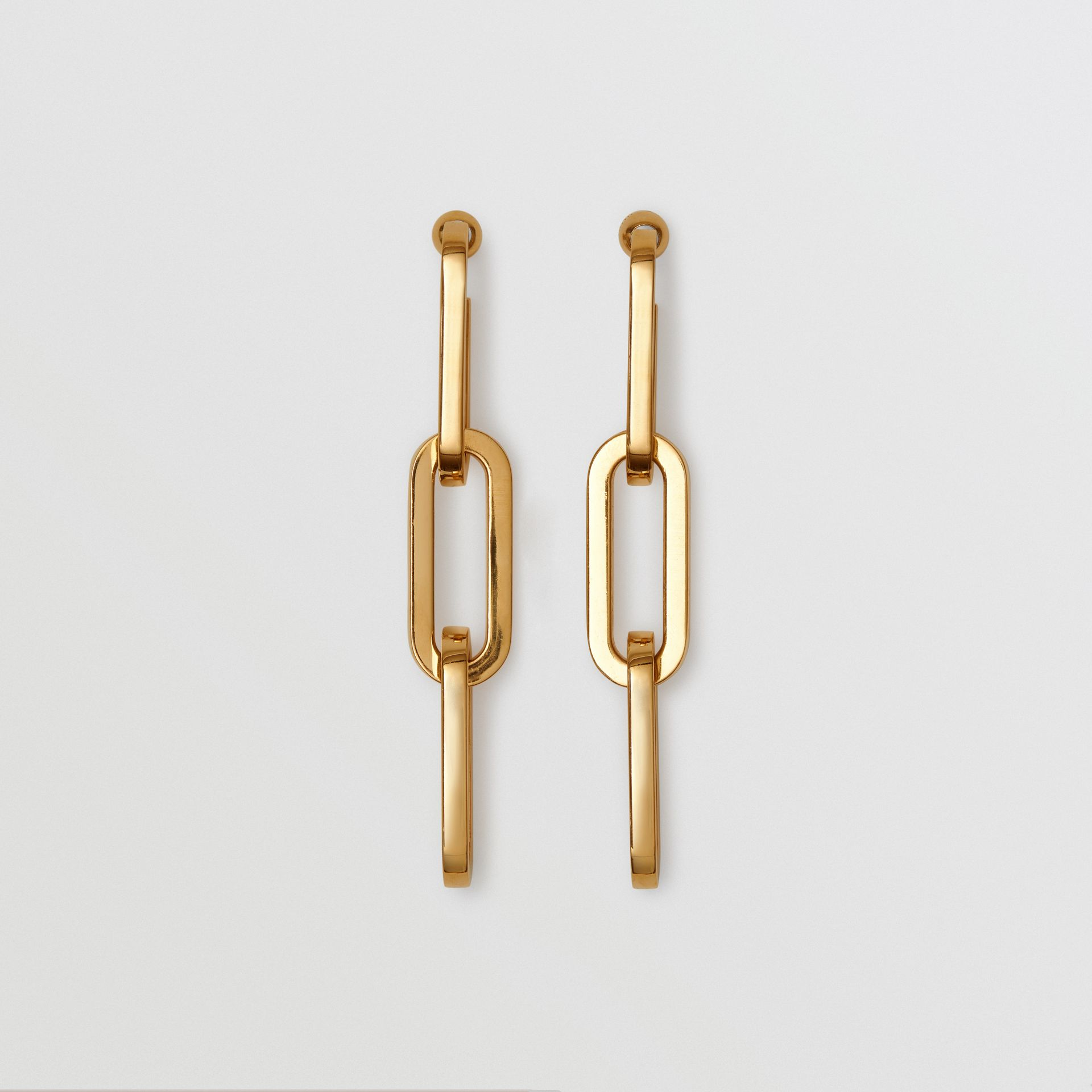 Gold-plated Link Drop Earrings in Light - Women | Burberry - gallery image 0