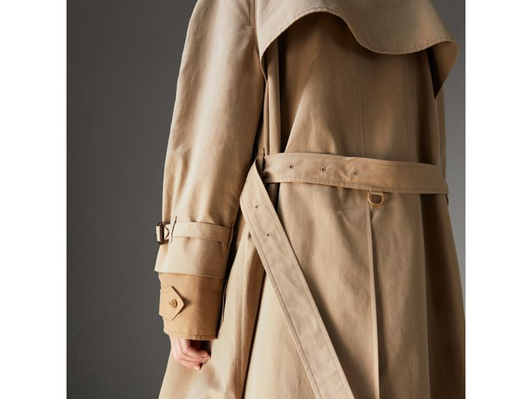Cotton Gabardine Reconstructed Car Coat in Honey - Women | Burberry - cell image 4