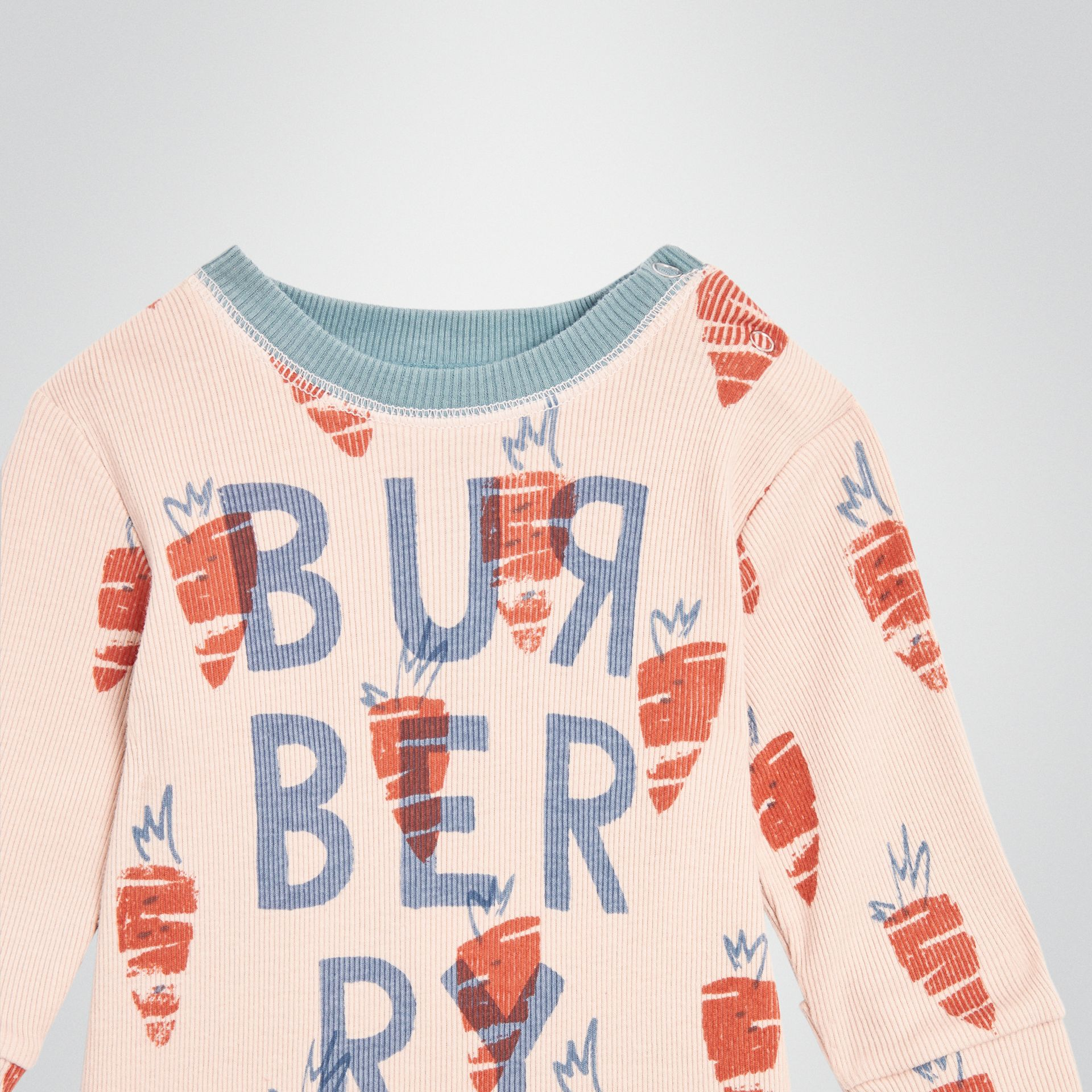 Carrot Print Cotton Bodysuit in Stone - Children | Burberry United Kingdom - gallery image 4
