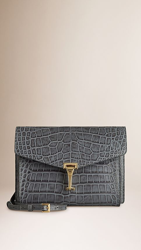Grey Small Antiqued Alligator Crossbody Bag - Image 1