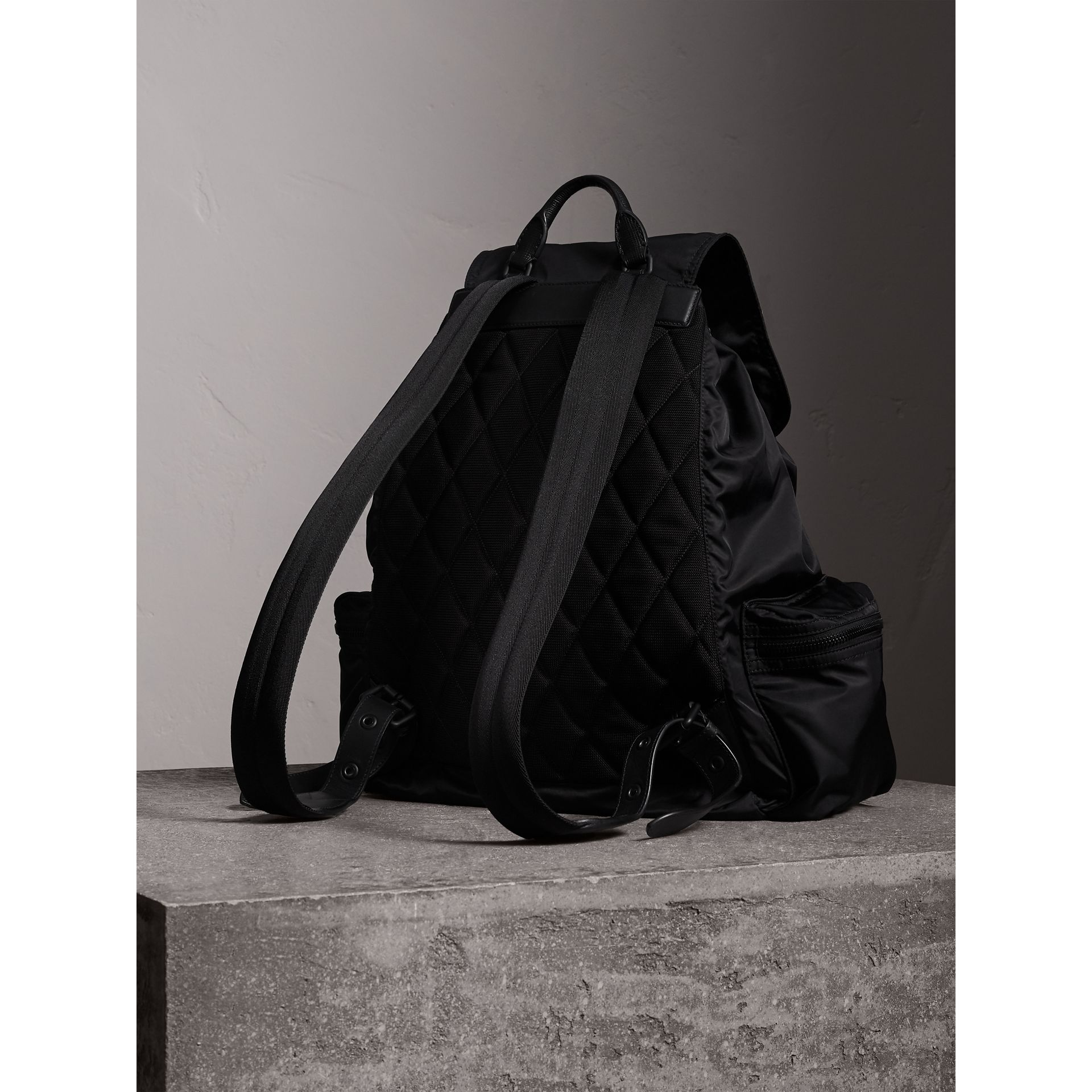 The Extra Large Rucksack in Technical Nylon and Leather in Black - Men | Burberry Canada - gallery image 4