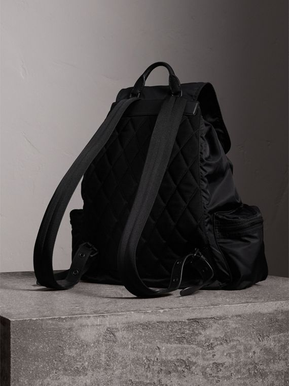 The Extra Large Rucksack in Technical Nylon and Leather in Black - Men | Burberry Canada - cell image 3