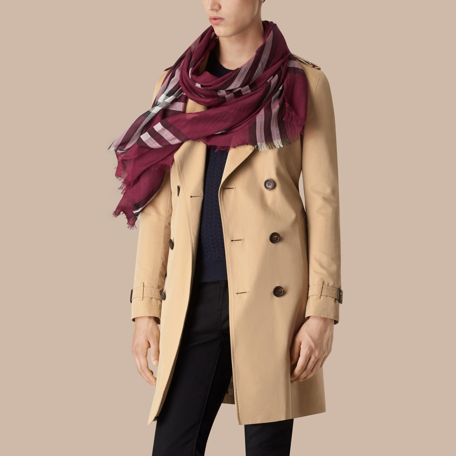 Lightweight Check Wool and Silk Scarf in Plum - gallery image 4