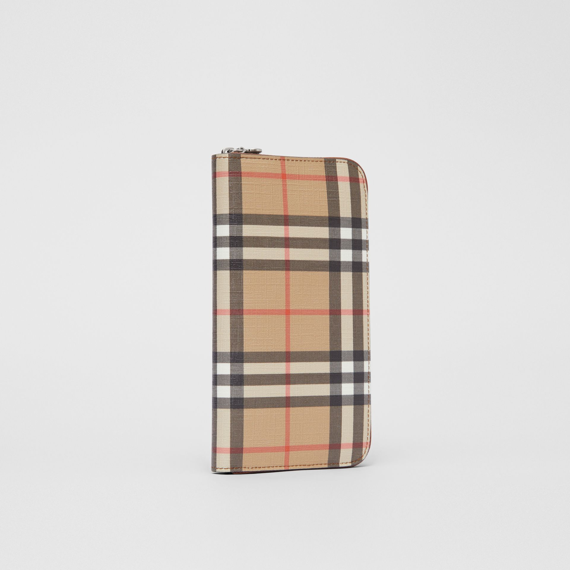 Vintage Check E-canvas Ziparound Wallet in Malt Brown - Women | Burberry - gallery image 3