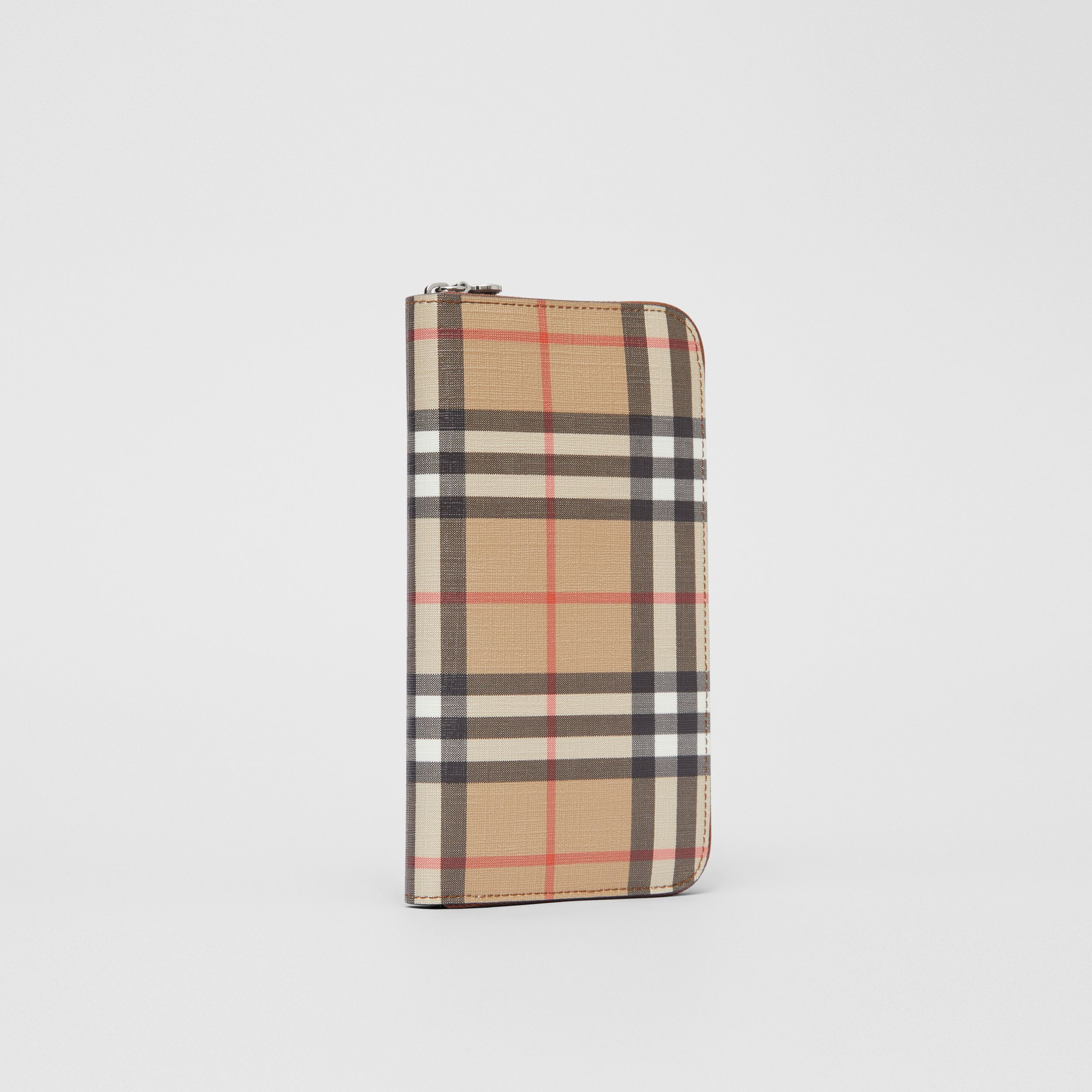 Vintage Check E-canvas Ziparound Wallet in Malt Brown - Women | Burberry - 4