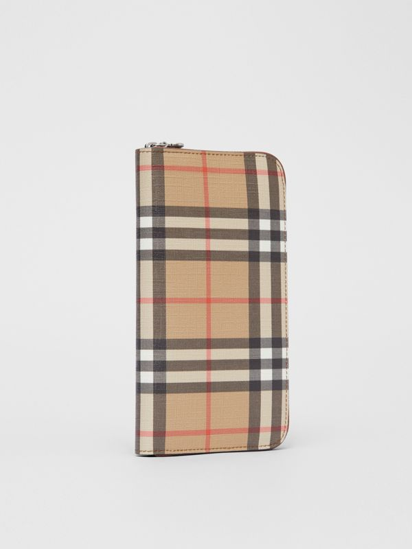 Vintage Check E-canvas Ziparound Wallet in Malt Brown - Women | Burberry Canada - cell image 3