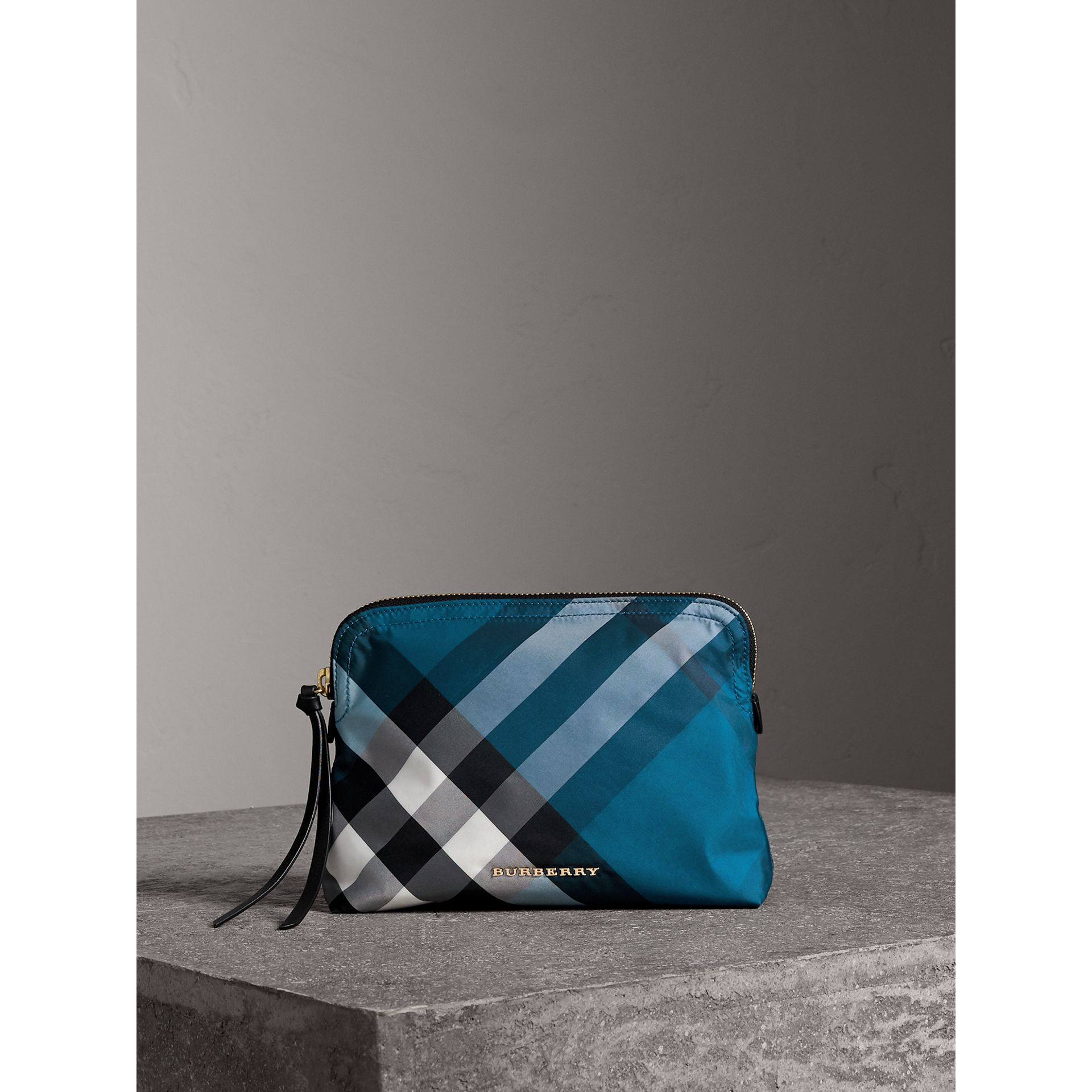 Large Zip-top Check Pouch in Marine Blue - Women | Burberry - gallery image 1