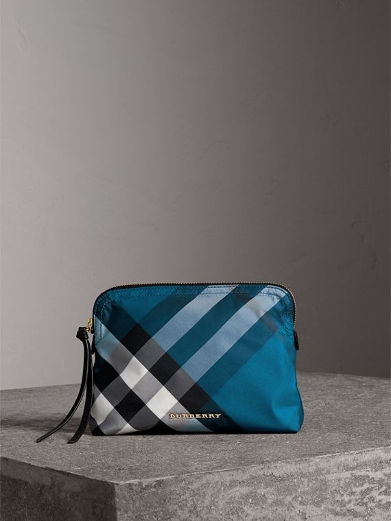 Large Zip-top Check Pouch in Marine Blue