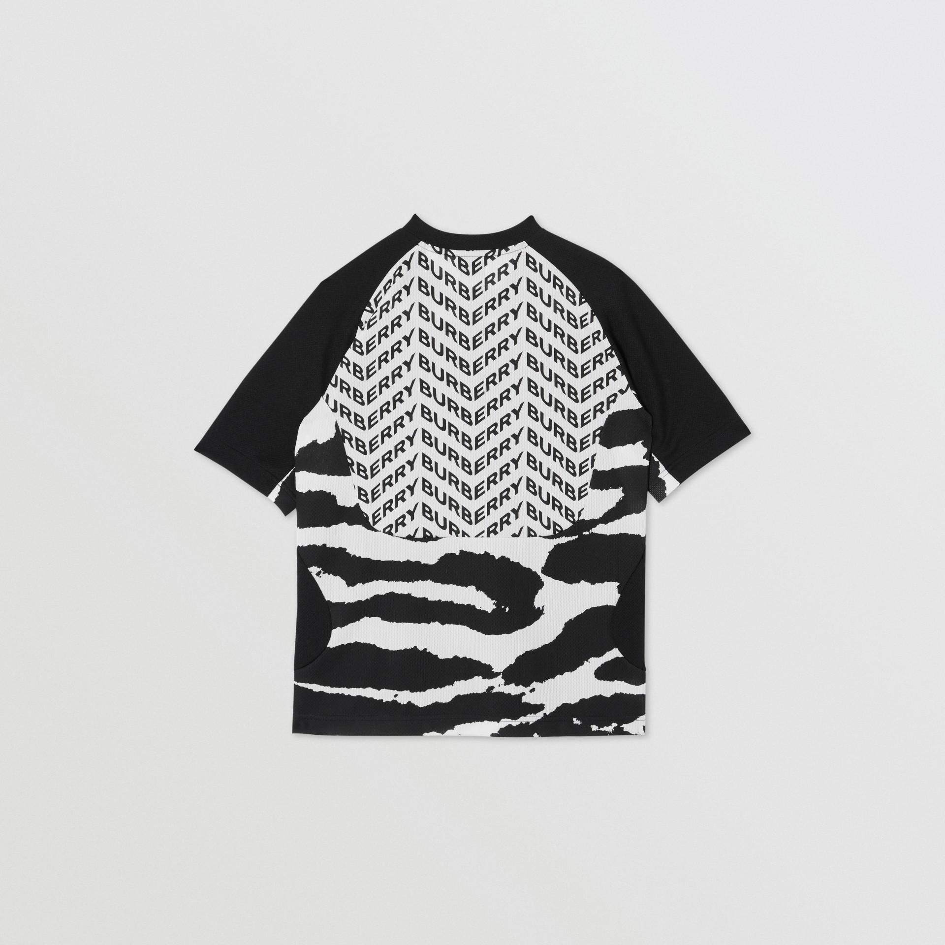 Kingdom Print Mesh T-shirt in Black | Burberry - gallery image 3
