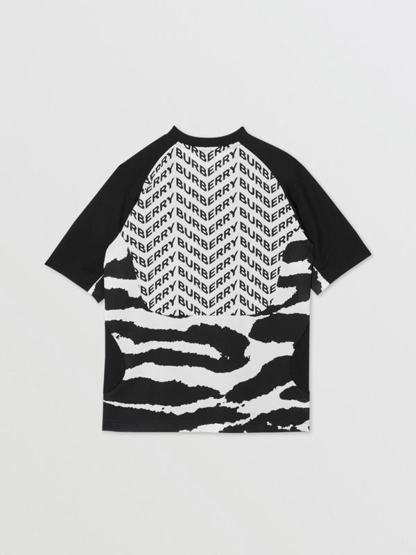Kingdom Print Mesh T-shirt in Black | Burberry - cell image 3