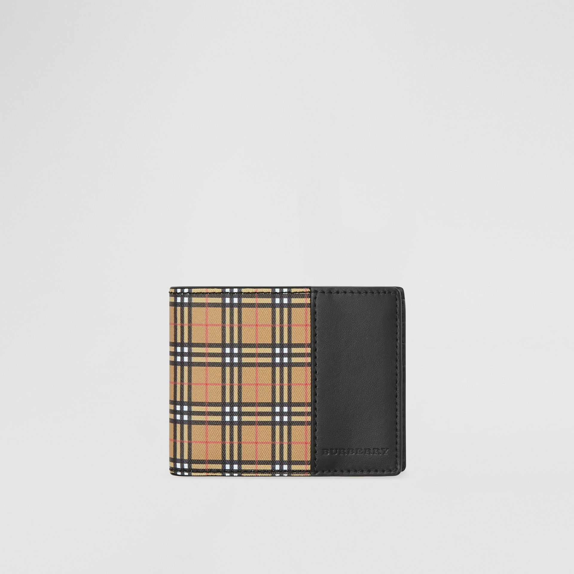 Small Scale Check and Leather Bifold Wallet in Antique Yellow/black - Men | Burberry Singapore - gallery image 0