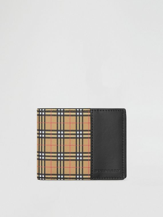 Small Scale Check and Leather Bifold Wallet in Antique Yellow/black