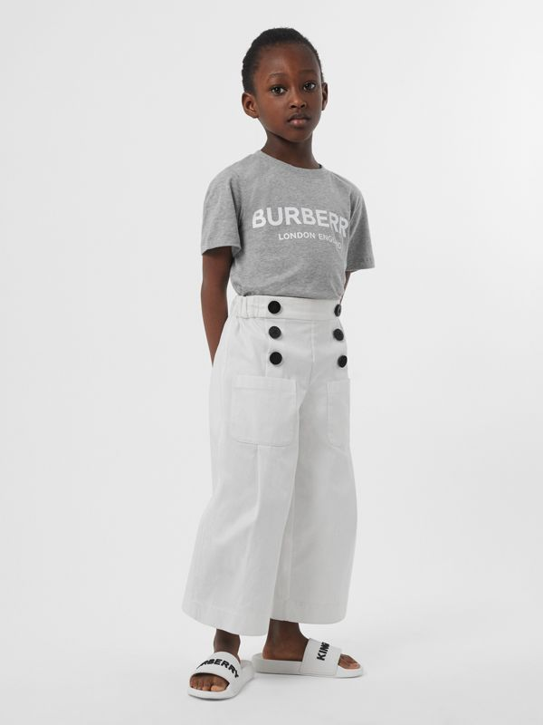 Logo Print Cotton T-shirt in Grey Melange | Burberry - cell image 3