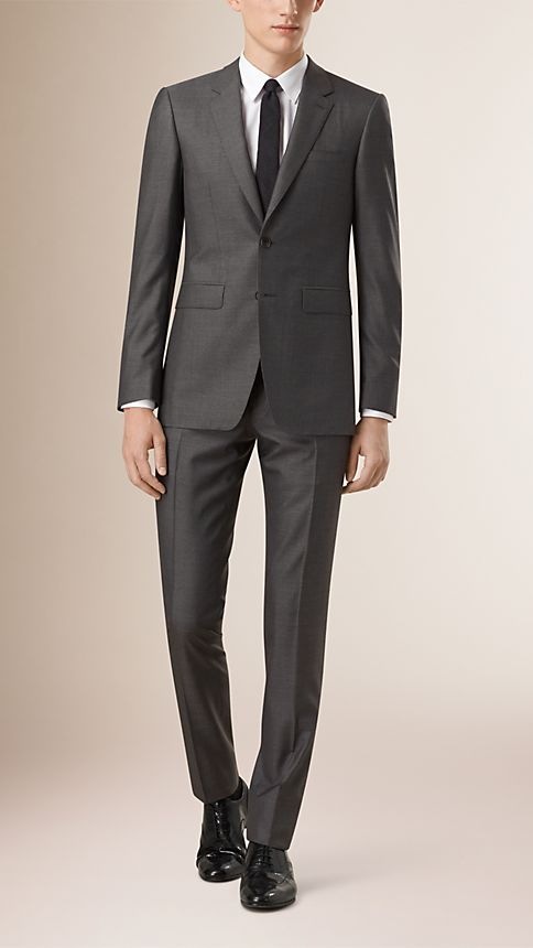 Dark grey melange Slim Fit Wool Silk Half-canvas Suit - Image 1