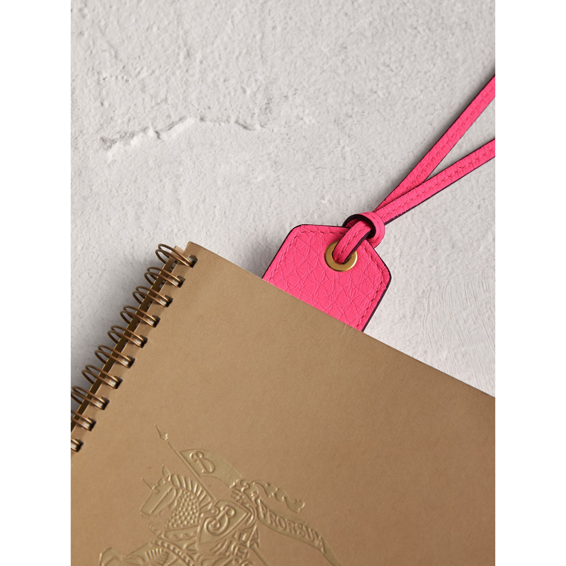 Embossed Leather Bookmark in Bright Pink | Burberry Canada - gallery image 1